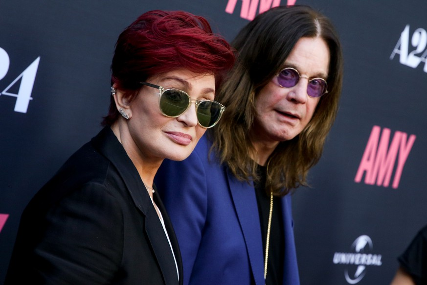 FILE - In this June 25, 2015 file photo, Sharon Osbourne, left, and Ozzy Osbourne arrive at the LA Premiere of
