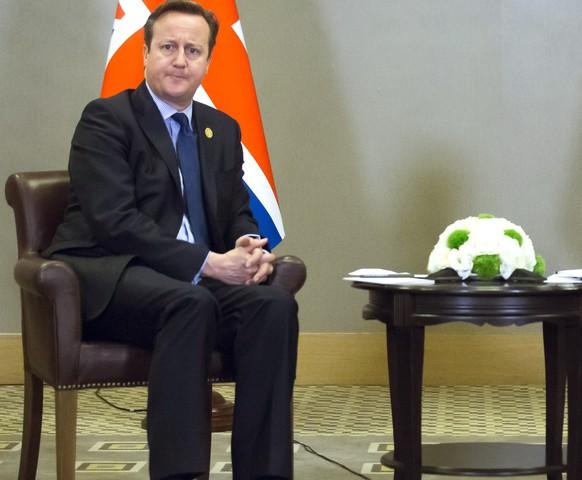 British Prime Minister David Cameron, left, and Russian President Vladimir Putin pose for a photo during their meeting at the G-20 Summit  in Antalya, Turkey, Monday, Nov. 16, 2015. (AP Photo/Alexander Zemlianichenko)