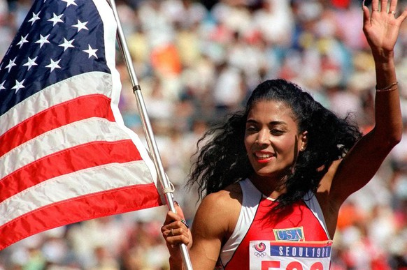 US sprinter Florence Griffith-Joyner waving with the
