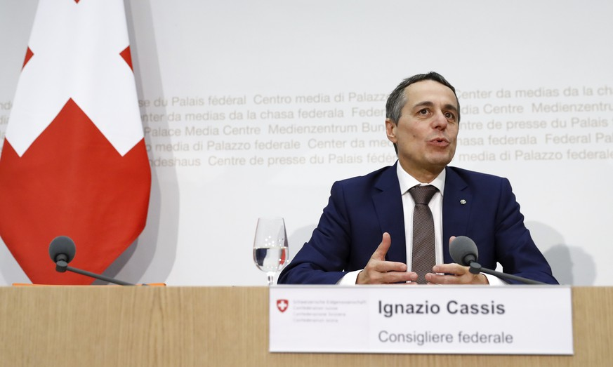 Ignazio Cassis gives his first press conference after his election as Federal Councilor by the United National Assembly, in the National Council in Bern, Switzerland, Sept. 2017. The Swiss parliament has elected the center-right doctor to the country's seven-member executive branch, the first member from the country's Italian-speaking south in 18 years. (Peter Klaunzer/Keystone via AP)