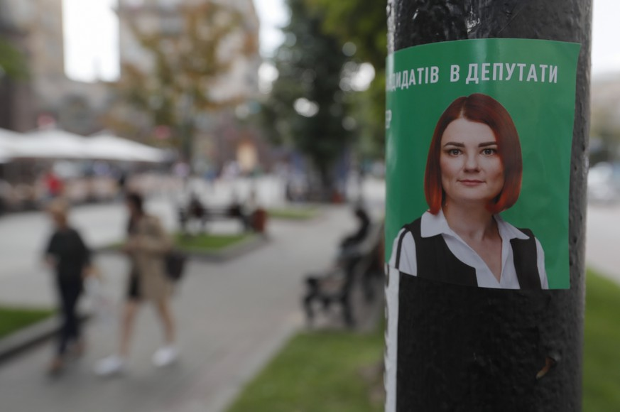 epa07722171 An election advertising of the 'Servant of people? political party of the President Volodymyr Zelensky in Kiev, Ukraine, 17 July 2019. Elections will be held on 21 July 2019 after President Volodymyr Zelensky dissolved parliament during his inauguration on 21 May 2019.  EPA/SERGEY DOLZHENKO