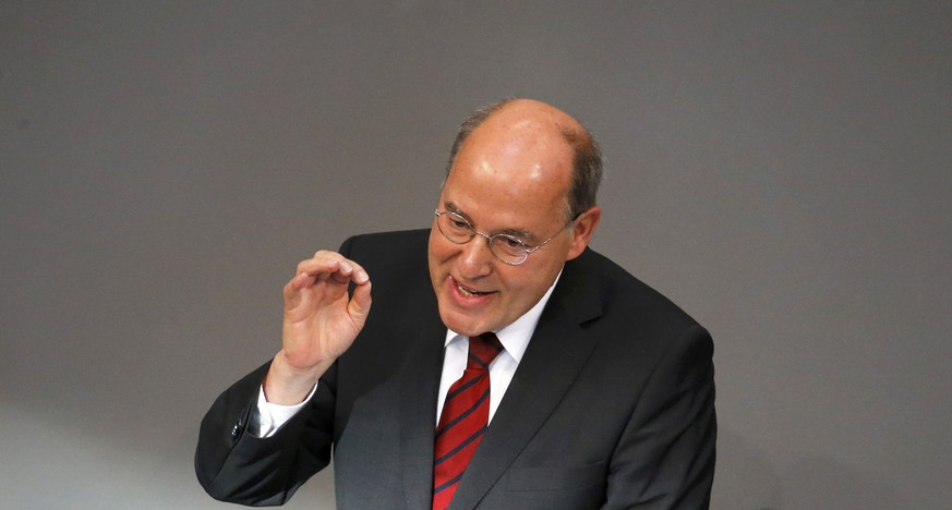 German faction leader of The Left Party Gregor Gysi gestures as he gives his last speech as faction leader at the lower house of parliament Bundestag on Germany's 2016 budget in Berlin, Germany September 9, 2015. REUTERS/Fabrizio Bensch