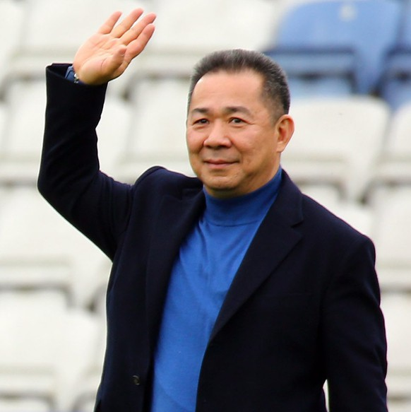 epa05242199 Leicester City Chairman Vichai Srivaddhanaprabha (R) after the English Premier League soccer match between Leicester City and Southampton at The King Power Stadium in Leicester, Britain, 03 April 2016. Leicester won the match 1-0.  EPA/TIM KEETON EDITORIAL USE ONLY. No use with unauthorized audio, video, data, fixture lists, club/league logos or 'live' services. Online in-match use limited to 75 images, no video emulation. No use in betting, games or single club/league/player publications.