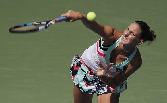 Karolina Pliskova, of the Czech Republic, serves to Nicole Gibbs, of the United States, during the second round of the U.S. Open tennis tournament, Thursday, Aug. 31, 2017, in New York. (AP Photo/Andres Kudacki)
