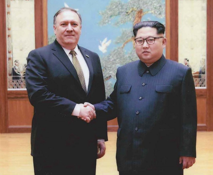 epa06720964 (FILE) - An undated handout photo made available by the US White House on 26 April 2018 shows then-CIA director Mike Pompeo (L) meeting with North Korean leader Kim Jong Un in, Pyongyang, North Korea (reissued 09 May 2018). According to media reports on 09 May 2018, US Secretary of State Mike Pompeo is making a surprise visit to North Korea, which is intended to prepare the historic summit between North Korean leader Kim Jong-un and US President Donald J. Trump.  EPA/US WHITE HOUSE HANDOUT -- BEST QUALITY AVAILABLE -- HANDOUT EDITORIAL USE ONLY/NO SALES