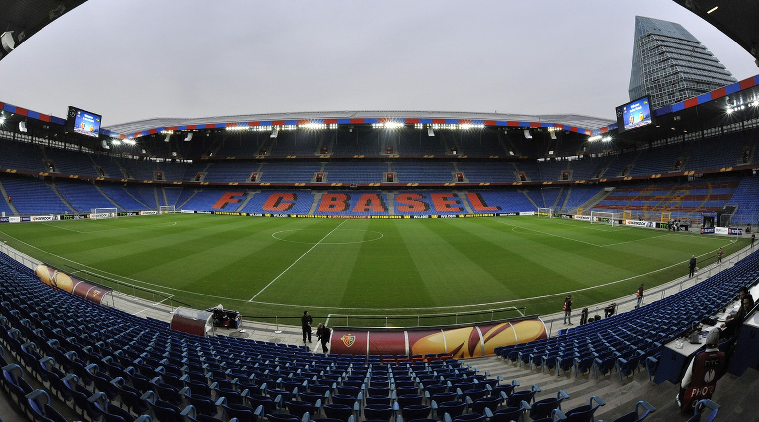 The empty stadium prior to the UEFA Europa League quarter final first leg soccer match between Switzerland's FC Basel 1893 and Spain's Valencia CF behind closed doors at the St. Jakob-Park stadium in Basel, Switzerland, on Thursday, April 3, 2014. (KEYSTONE/Georgios Kefalas)