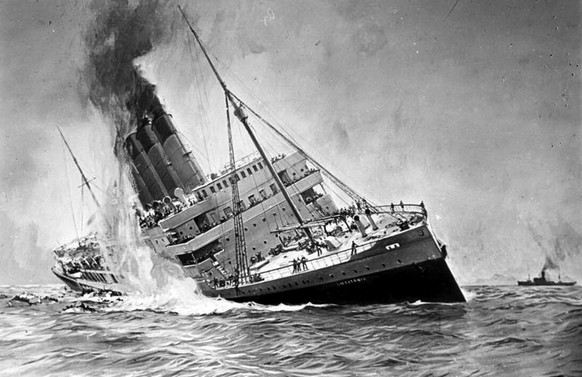 Erster Weltkrieg Seekrieg U-Boot-Krieg Versenkung der Lusitania 1915 (Bundesarchiv DVM 10 Bild-23-61-17)