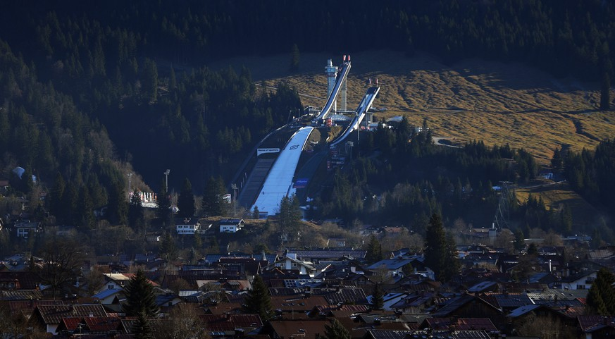 The ski jumping hill is seen in Oberstdorf, southern Germany, December 28, 2015. The prestigious Four-Hills Tournament starts in Oberstdorf on December 28, 2015 and will end in Bischofshofen on January 6, 2016. REUTERS/Michael Dalder