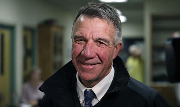 Republican Vermont Gov. Phil Scott smiles after voting in Berlin, Vt., Tuesday, Nov. 6, 2018. Gov. Scott is facing Democratic gubernatorial challenger Christine Hallquist. (AP Photo/Charles Krupa)