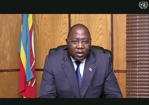 RETRANSMISSION TO CORRECT DATE - In this image made from UNTV video, Ambrose Mandvulo Dlamini, Prime Minister of Eswatini, speaks in a pre-recorded message which was played during the 75th session of the United Nations General Assembly, Friday, Sept. 25, 2020, at U.N. Headquarters. (UNTV Via AP )