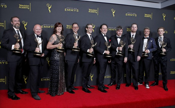 epa07846058 (L-R) Tim Kimmel, Tim Hands, Paula Fairfield, Bradley C. Katona, Paul Bercovitch, John Matter, David Klotz, Brett Voss, Jeffrey Wilhoit and Dylan Tuomy-Wilhoit pose with the Outstanding Sound Editing for a Comedy or Drama Series (One Hour) Award for 'Game of Thrones' during the 2019 Creative Arts Emmy Awards at the Microsoft Theater in Los Angeles, California, USA, 15 September 2019. The Creative Arts Emmy Awards honor excellence in Television technical categories such as makeup, casting direction, costume design, editing and cinematography. The 71st Primetime Emmy Awards Ceremony will take place on 22 September 2019.  EPA/NINA PROMMER