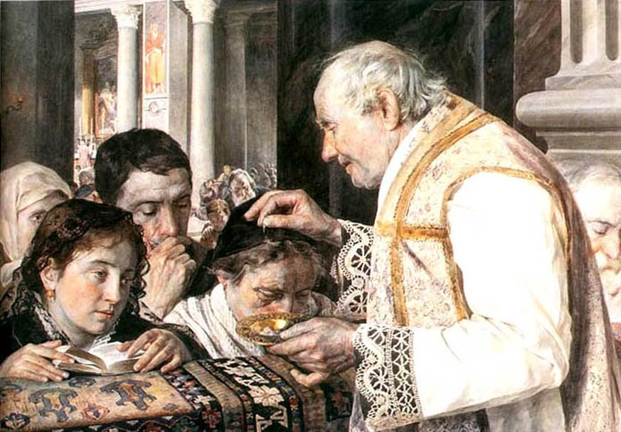 Priester bei der Kommunion mit Kindern auf einem polnischen Gemälde von 1881. Bild: wikipedia
