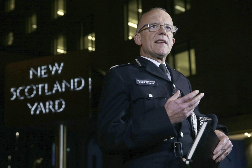 Assistant Police Commissioner, Mark Rowley, delivers a statement outside New Scotland Yard, London, Friday Sept. 15, 2017, after a homemade bomb planted in a rush-hour subway car exploded in London on Friday, injuring 29 people and prompting authorities to raise Britain's terrorism threat level to