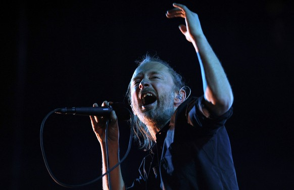 Thom York, lead singer of English rock band Radiohead, performs during their concert at the Optimus Alive music festival in Lisbon, Sunday, July 15 2012.  (AP Photo/Armando Franca) EDITORIAL USE ONLY