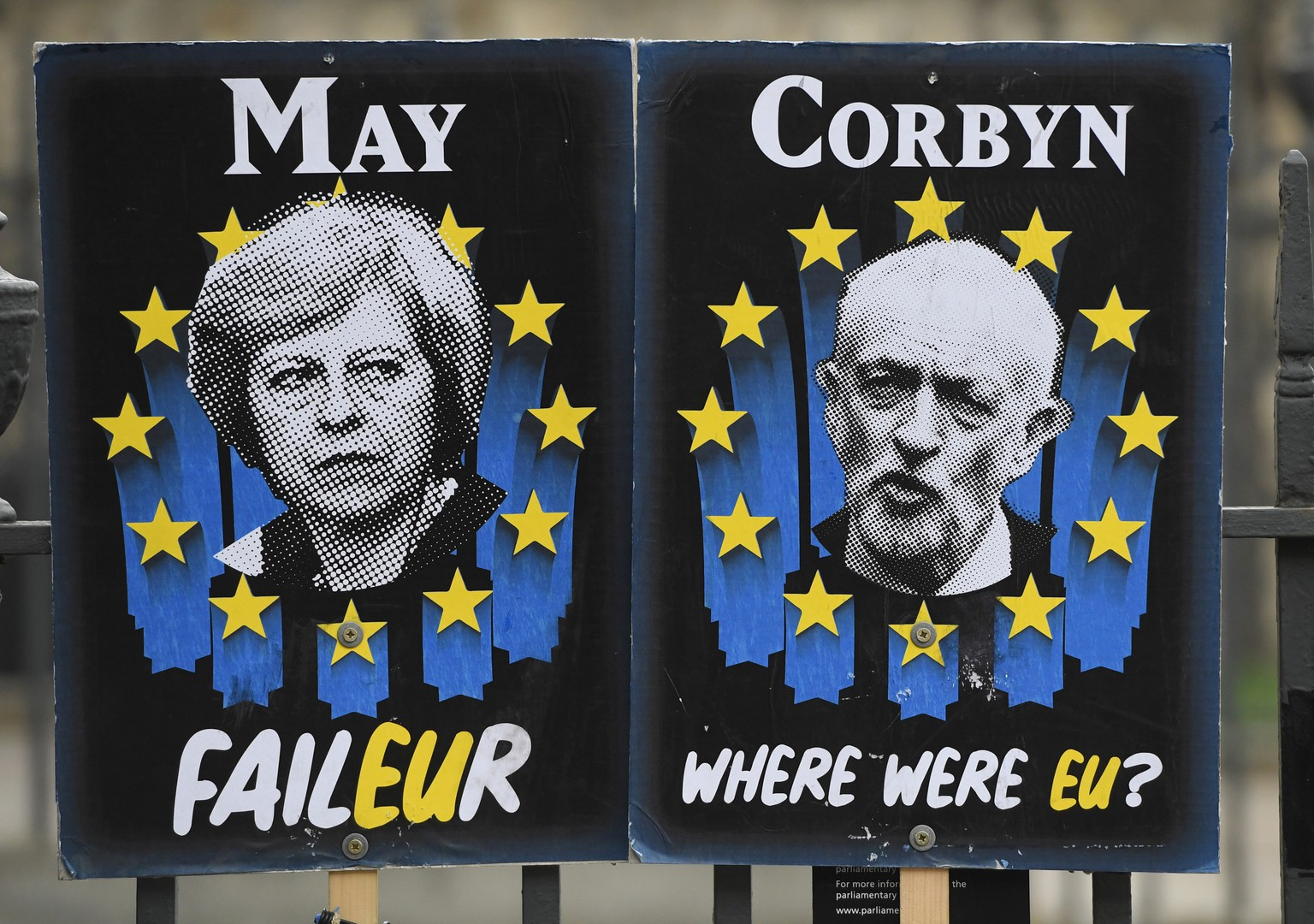 epa07482549 Posters mocking British politicians outside the Houses of Parliament in Westminster, central London, Britain, 03 April 2019. Reports state that British Prime Minister Theresa May is expected to meet Labour opposition leader Jeremy Corbyn later in the day looking for a way to to break the Brexit deadlock. May also is to ask the EU for an extension to the Brexit deadline.  EPA/FACUNDO ARRIZABALAGA