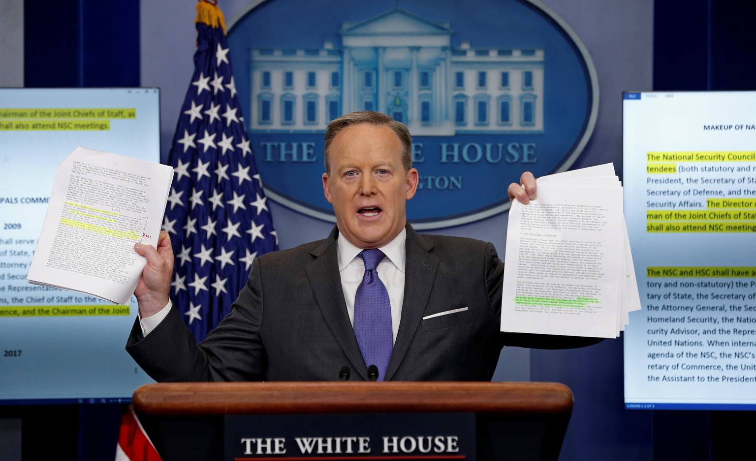 White House spokesman Sean Spicer holds up documents comparing the makeup of the National Security Council (NSC) in the Trump and Obama administrations during his press briefing at the White House in Washington, DC, U.S. January 30, 2017. REUTERS/Kevin Lamarque