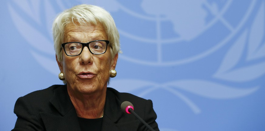 Member of the independent Commission of Inquiry on the Syrian Arab Republic Carla del Ponte addresses the media during a news conference at the United Nations headquarters in Geneva, Switzerland, June 23, 2015.  REUTERS/Pierre Albouy