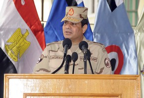Egypt's army chief Field Marshal Abdel Fattah al-Sisi speaks during a ceremony to mark the end of the basic military training preparation period for college students and military academics at the military college in Cairo, in this March 4, 2014 handout provided by Egypt's Ministry of Defence. Sisi has sent the clearest signal yet that he will run for president, saying he cannot ignore the demands of the