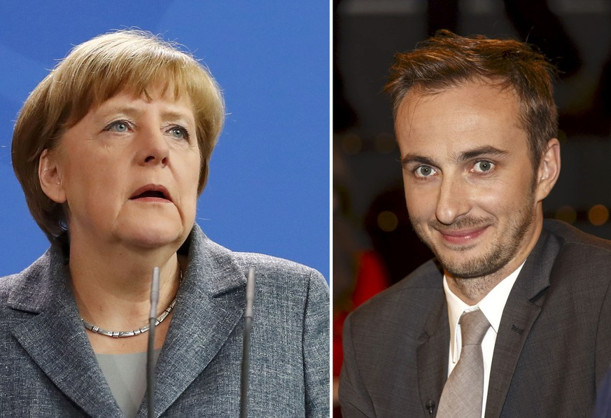 A combination of pictures shows German Chancellor Angela Merkel as she gives a statement on Turkey's request to seek prosecution of German comedian Jan Boehmermann (R) who read out a sexually crude poem about Turkish President Tayyip Erdogan on German television, at the Chancellery in Berlin, Germany April 15, 2016, and a file picture of Boehmermann during a TV show of Markus Lanz in Hamburg on February 10, 2013. Turkish President Tayyip Erdogan has filed a complaint against a comedian who recited a satirical and sexually crude poem about him on German television, complicating Berlin's attempts to get Turkey's help in dealing with Europe's migrant crisis.   REUTERS/Morris Mac Matzen/Files and Fabrizio Bensch