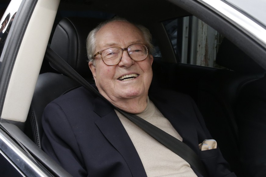 France's far-right National Front political party founder and honorary president Jean-Marie Le Pen sits in his car as he leaves after the party's executive office at their party's headquarters in Nanterre near Paris May 4, 2015. Jean-Marie Le Pen faces a party disciplinary hearing on Monday for repeating his view that Nazi gas chambers were a mere