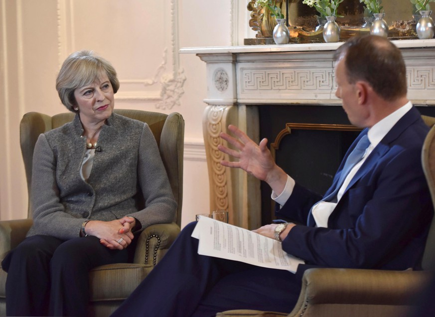 Britain's Prime Minister Theresa May speaks in a recorded interview in Maidenhead, Britain, on the BBC's Andrew Marr Show, in this September 2, 2016 handout photo received via the BBC. Picture taken September 2, 2016. Jeff Overs/Courtesy of the BBC/Handout via REUTERS  ATTENTION EDITORS - THIS IMAGE HAS BEEN SUPPLIED BY A THIRD PARTY. IT IS DISTRIBUTED, EXACTLY AS RECEIVED BY REUTERS, AS A SERVICE TO CLIENTS. FOR EDITORIAL USE ONLY. NO RESALES. NO ARCHIVES. NOT FOR SALE FOR MARKETING OR ADVERTISING CAMPAIGNS.
