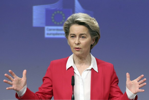 European Commission President Ursula von der Leyen talks during a news conference on COVID-19 vaccination plan at the EU headquarters in Brussels, Friday, Jan. 8, 2021. The European Commission said it has secured the buying of 300 million extra doses of the coronavirus Pfizer-BioNTech vaccine, a move that could ease criticism that the EU's executive arm has not done enough to procure coronavirus shots for the entire bloc. (Francois Walschaerts, Pool via AP)