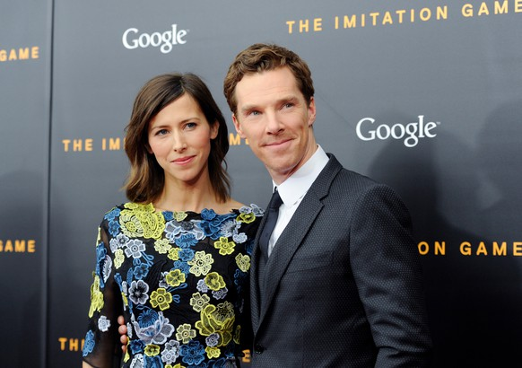 Actor Benedict Cumberbatch, right, and fiancee Sophie Hunter attend the premiere of