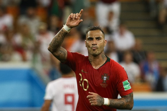 epa06840122 Ricardo Quaresma of Portugal celebrates scoring the 1-0 lead during the FIFA World Cup 2018 group B preliminary round soccer match between Iran and Portugal at Mordovia Arena Saransk, in Saransk, Russia, 25 June 2018.