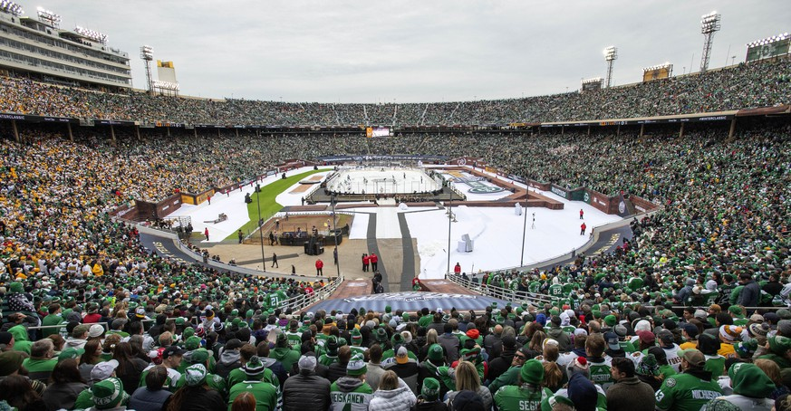 The second largest crowd to ever watch an NHL hockey game fills the Cotton Bowl during the second period of the NHL Winter Classic hockey game between the Dallas Stars and the Nashville Predators, Wednesday, Jan. 1, 2020, in Dallas. (AP Photo/Jeffrey McWhorter)
