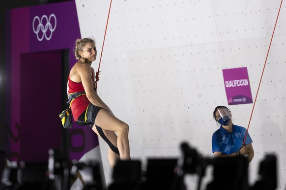 Petra Klingler of Switzerland reacts after falling off the wall during the women's Combined Lead Climbing Qualification at the 2020 Tokyo Summer Olympics in Tokyo, Japan, on Wednesday, August 4, 2021. (KEYSTONE/Peter Klaunzer)