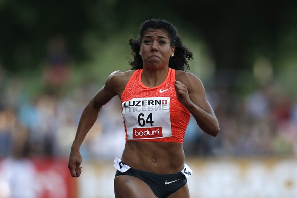 14.07.2015; Luzern; Leichtathletik - Spitzen Leichtathletik Luzern 2015;  Mujinga Kambundji (SUI) ueber 100m  (Christian Pfander/freshfocus)