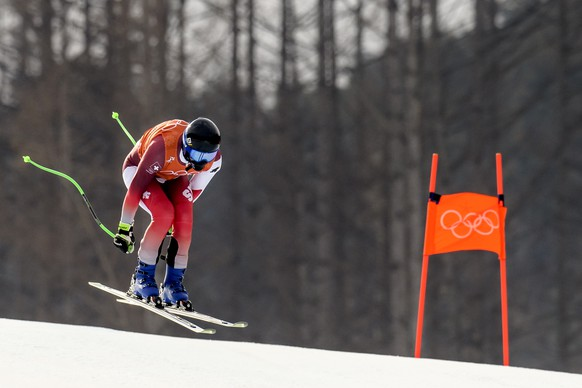 Luca Aerni of Switzerland in action during a training session for the Men's Downhill race at the Jeongseon Alpine Centre at the XXIII Winter Olympics 2018 in Pyeongchang, South Korea, on Friday, February 09, 2018. (KEYSTONE/Jean-Christophe Bott)