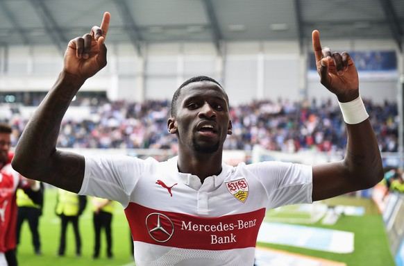 PADERBORN, GERMANY - MAY 23:  Antonio Ruediger of Stuttgart celebrates staying in the first Bundesliga after winning the Bundesliga match between SC Paderborn 07 and VfB Stuttgart at Benteler Arena on May 23, 2015 in Paderborn, Germany.  (Photo by Stuart Franklin/Bongarts/Getty Images)