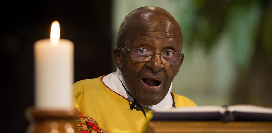 epa05574178 Nobel Peace Laureate Archbishop Emeritus Desmond Tutu reacts during a church service in celebration of his 85th birthday at St. Georges Cathedral in Cape Town, South Africa, 07 October 2016. One of South Africa's most respected elders and social rights activist was instrumental in the deconstruction of apartheid and the formation of the Truth and Reconciliation commission. Archbishop Tutu celebrated his 85th birthday with a service at the iconic Cape Town Cathedral. The retired Anglican bishop rose to worldwide fame during the 1980s as an opponent of apartheid and was the first black Archbishop of Cape Town.  EPA/NIC BOTHMA