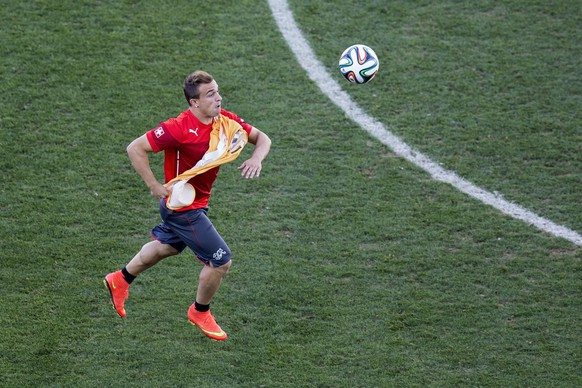 Switzerland's Xherdan Shaqiri in action during a training session of the Swiss national soccer team in the Arena de Sao Paulo in Sao Paulo, Brazil, Monday, June 30, 2014, one day prior to the Round of 16 match Switzerland against Argentina. (KEYSTONE/Peter Klaunzer)