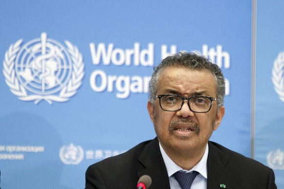 epa08244194 WHO Director-General Tedros Adhanom Ghebreyesus holds a press conference about an update on the novel coronavirus COVID-19 disease at the World Health Organization (WHO) headquarters in Geneva, Switzerland, 24 February 2020.