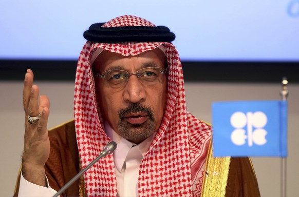 FILE - In this June 23, 2018 file photo, Saudi Energy Minister Khalid al-Falih attends a news conference in Vienna, Austria. Saudi Arabia said on Thursday, Aug. 23, 2018 that it