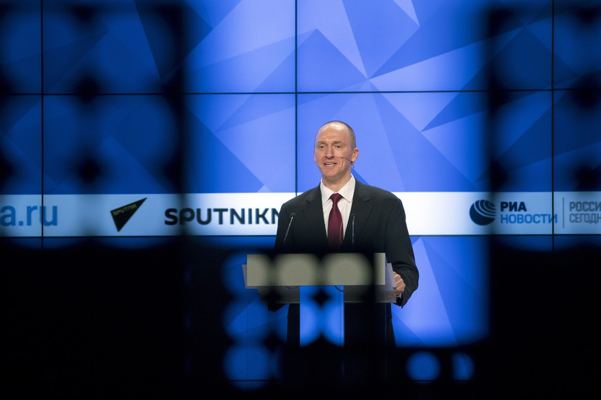 Carter Page, a former foreign policy adviser of U.S. President-elect Donald Trump, speaks at a news conference at RIA Novosti news agency in Moscow, Russia, Monday, Dec. 12, 2016. Page said he was in Moscow on a visit to meet with businessmen and politicians. (AP Photo/Pavel Golovkin)