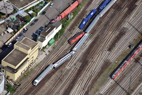 An aerial view of the accident site taken on August 2, 2014 after a passenger train collided with a cargo train near Mannheim's train station. Thirty-five people were injured, four of them seriously, when a passenger train collided with a freight train late Friday near Mannheim station in southern Germany, the operator Deutsche Bahn said. AFP PHOTO / ULI DECK / GERMANY OUT