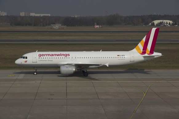 A Germanwings Airbus A320 registration D-AIPX is seen at the Berlin airport in this March 29, 2014 file photo.  An Airbus plane operated by Lufthansa's Germanwings budget airline crashed in southern France on Tuesday en route from Barcelona to Duesseldorf, police and aviation officials said. Picture taken March 29, 2014. REUTERS/Jan Seba