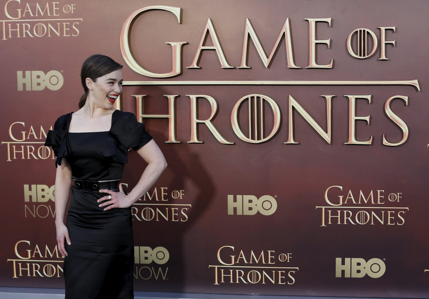 Actress Emilia Clarke arrives for the season premiere of HBO's