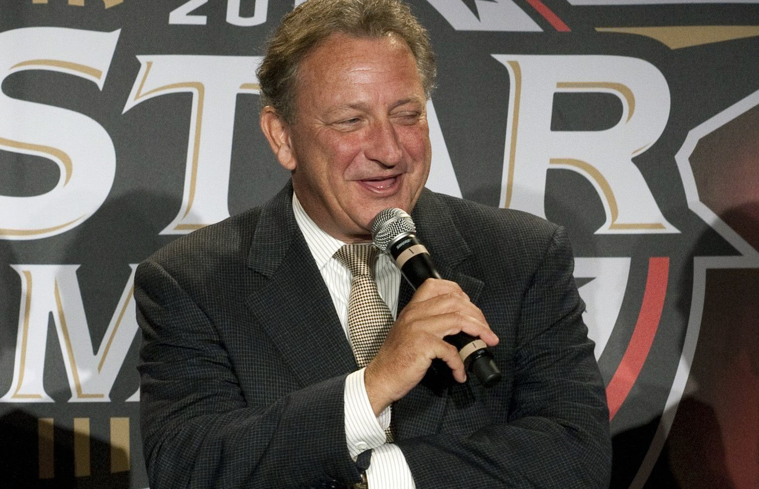 FILE - In this Sept. 15, 2010, file photo, Ottawa Senators owner Eugene Melnyk speaks during a news conference in Ottawa, Ontario. Melnyk has a few new priorities following a life-saving liver transplant — and a renewed focus on some old ones, too. Away from the rink, he's taking up a close-to-home fight. Melnyk launched his new foundation, The Organ Project, on Wednesday, Feb. 15, 2017, with an aim on ending waitlists for transplant patient.  (Adrian Wyld/The Canadian Press via AP, File)