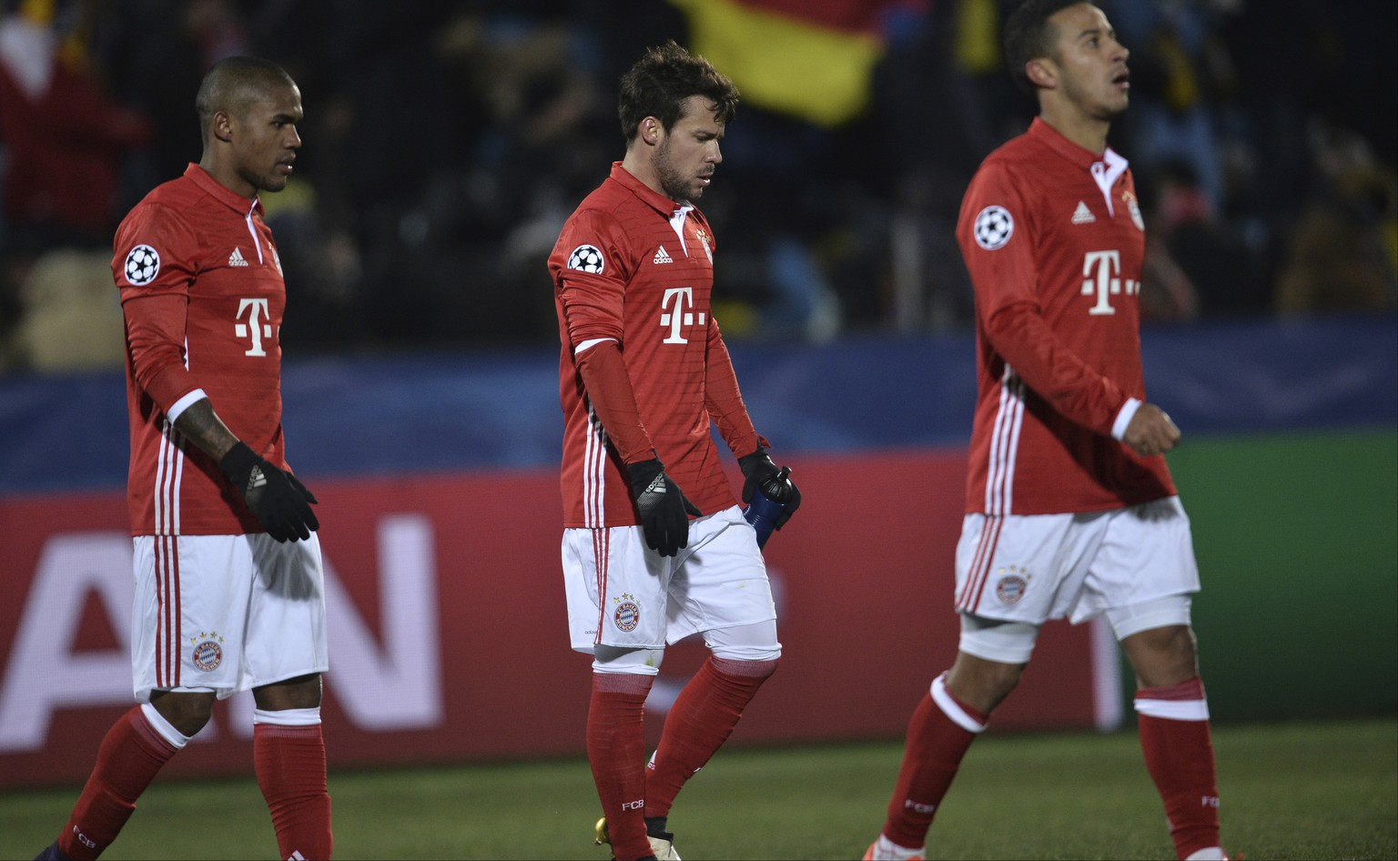 Bayern Munich's players leave the pitch after their team's 3-2 loss in the Champions League Group D soccer match between Rostov and Bayern in Rostov-on-Don, Russia, Wednesday, Nov. 23, 2016. (AP Photo/Sergey Pivovarov)