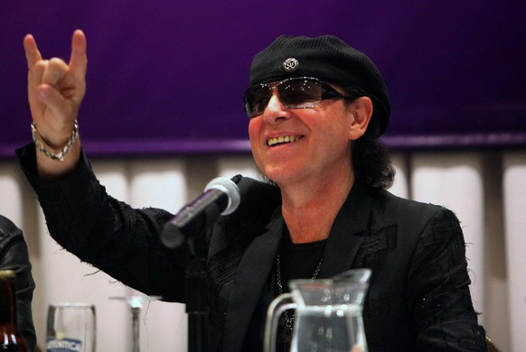 epa02338448 German band Scorpions singer Klaus Meine, poses during a press conference in La Paz, Bolivia, on 15 September 2010, before tomorrows first and last concert of the group in the country. According to the rock legends, they promessed a show where they will 'rock like a hurricane', like one of their biggest hits, at the La Paz Hernado Siles stadium.  EPA/MARTIN ALIPAZ
