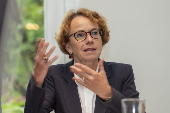 Regierungsraetin Eva Herzog spricht an einer Medienkonferenz zu ihrer Staenderatskandidatur in Basel am Montag, 12. August 2019. (KEYSTONE/Georgios Kefalas)