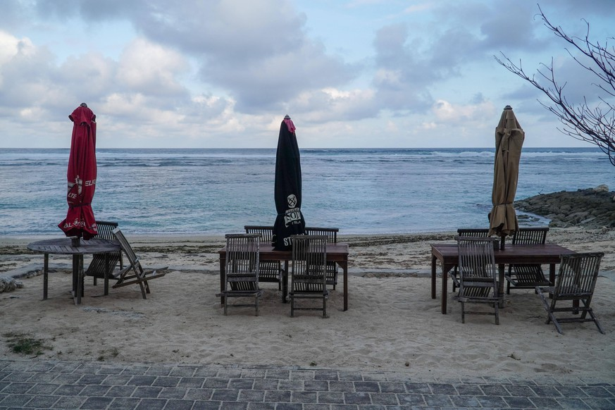 August 12, 2020, Badung, Bali, Indonesia: Closed restaurant terraces in Pandawa Beach during the coronavirus crisis..Major tourism spots in Indonesia s resort island of Bali are still closed despite the local authoritys decision to reopen amid increasing Covid-19 cases. Domestic tourism has been reopened since July 31, 2020, while international tourism will be open in September 11, 2020. Badung Indonesia - ZUMAs197 20200812_zab_s197_016 Copyright: xDickyxBisinglasix