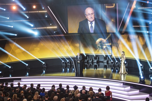 FIFA President Joseph S. (Sepp) Blatter delivers a speech at the FIFA Ballon d'Or 2014 gala held at the Kongresshaus in Zurich, Switzerland, Monday, January 12, 2015. (KEYSTONE/Ennio Leanza)