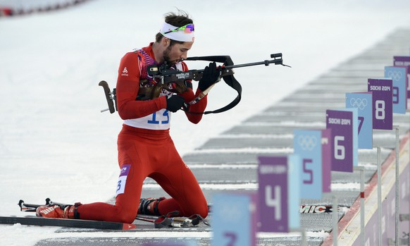 epa04074284 Benjamin Weger of Switzerland in action during the Men's 20km Individual competition in the Laura Cross Biathlon Center at the Sochi 2014 Olympic Games, Krasnaya Polyana, Russia, 13 February 2014.  EPA/ARMANDO BABANI