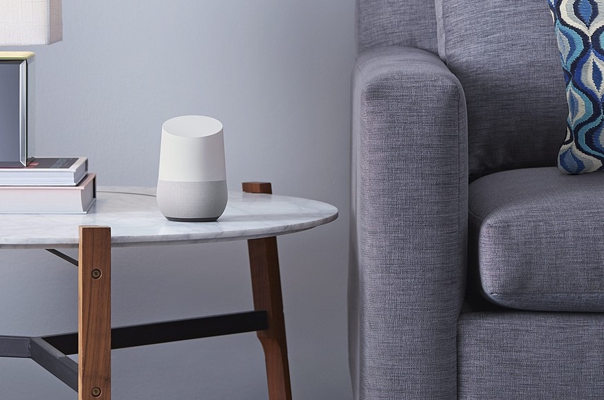 epa05315465 An undated handout made available by Google on 18 May 2016 shows Google Home (C) a voice-activated home product that will allow users to get answers from Google, stream music, and manage everyday tasks. Google announced the product which will be available in 2016, during the Google I/O conference taking place in San Francisco, USA, on 18 May 2016.  EPA/GOOGLE / HANDOUT  HANDOUT EDITORIAL USE ONLY/NO SALES