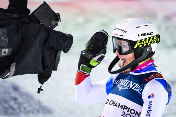 Wendy Holdener of Switzerland reacts in the finish area during the women slalom race of the Alpine Combined at the 2019 FIS Alpine Skiing World Championships in Are, Sweden Friday, February 8, 2019. (KEYSTONE/ Jean-Christophe Bott)
